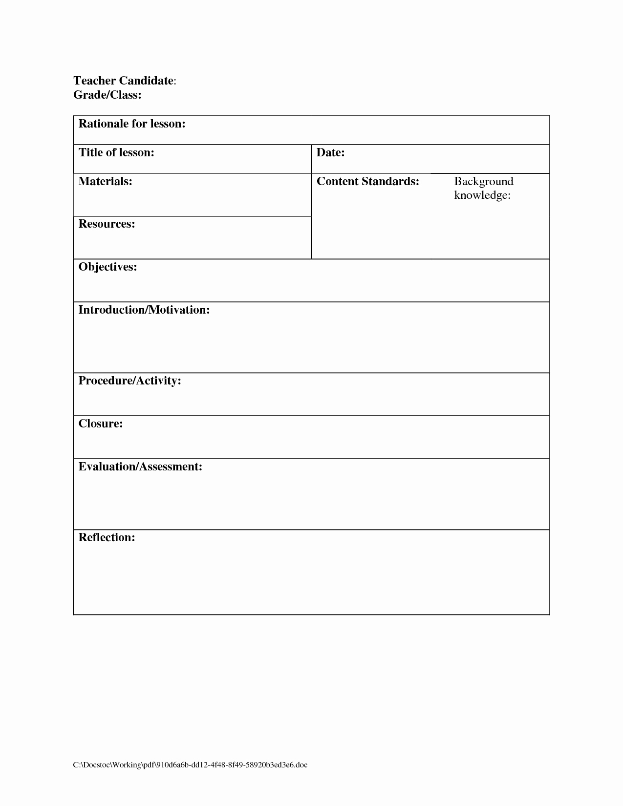 Blank Business Plan Template Word Inspirational Printable Blank Lesson Plans form for Counselors