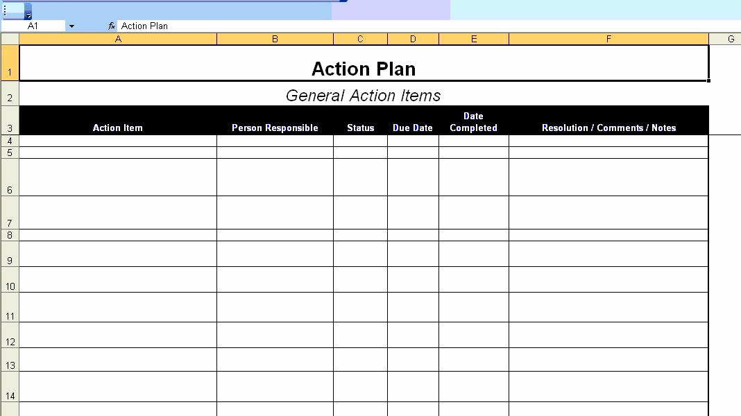 Blank Business Plan Template Word New Excellent Action Plan Template Example In Ms Excel format