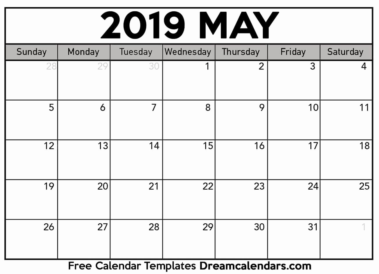 Blank Calendar Template 2019 Beautiful Printable May 2019 Calendar