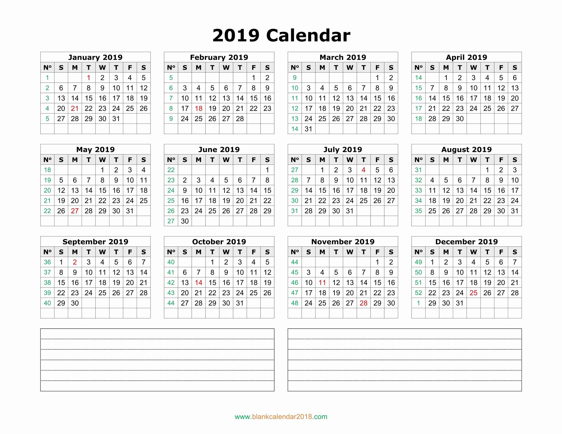 Blank Calendar Template 2019 Elegant Blank Calendar 2019