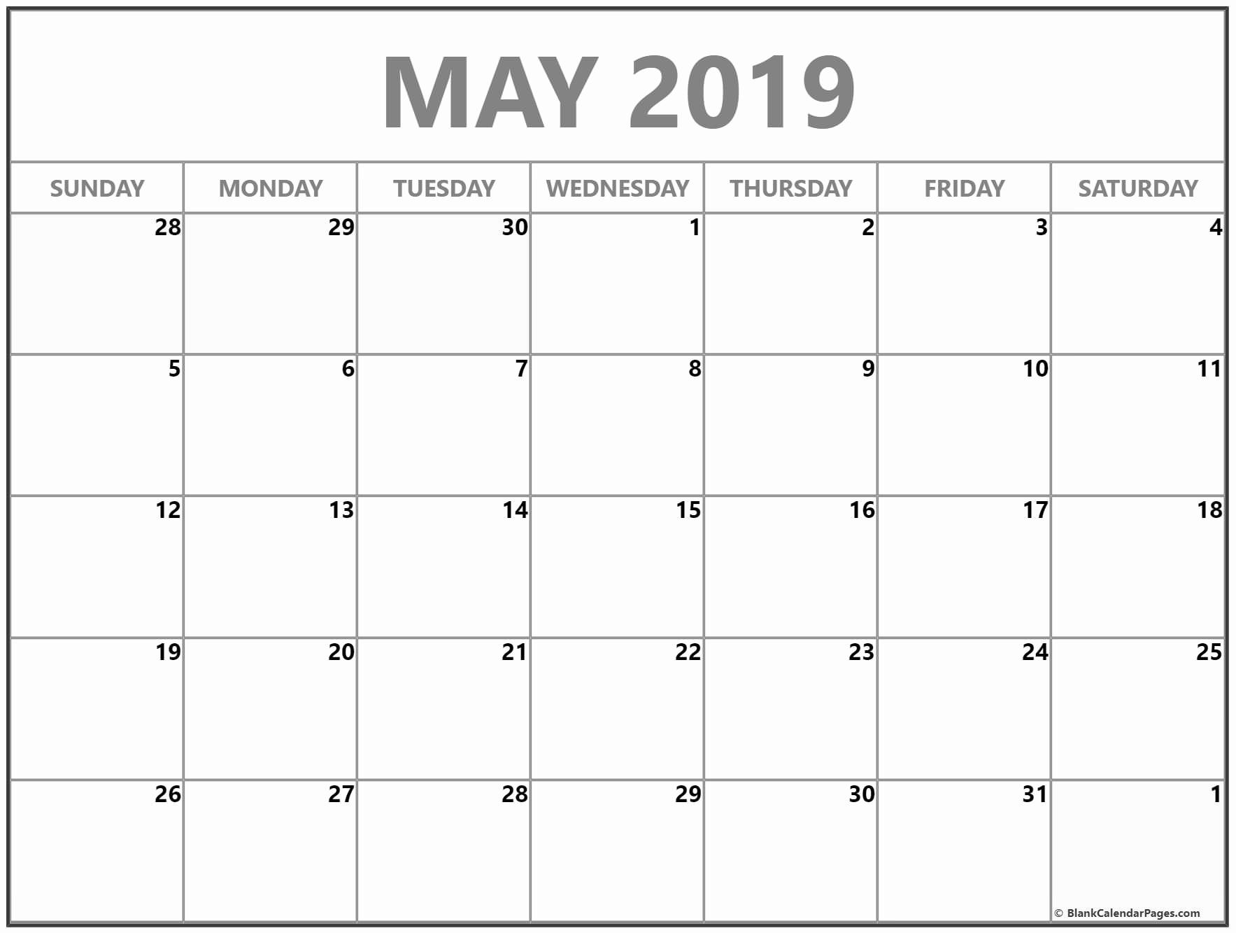 Blank Calendar Template 2019 Elegant May 2019 Blank Calendar Templates
