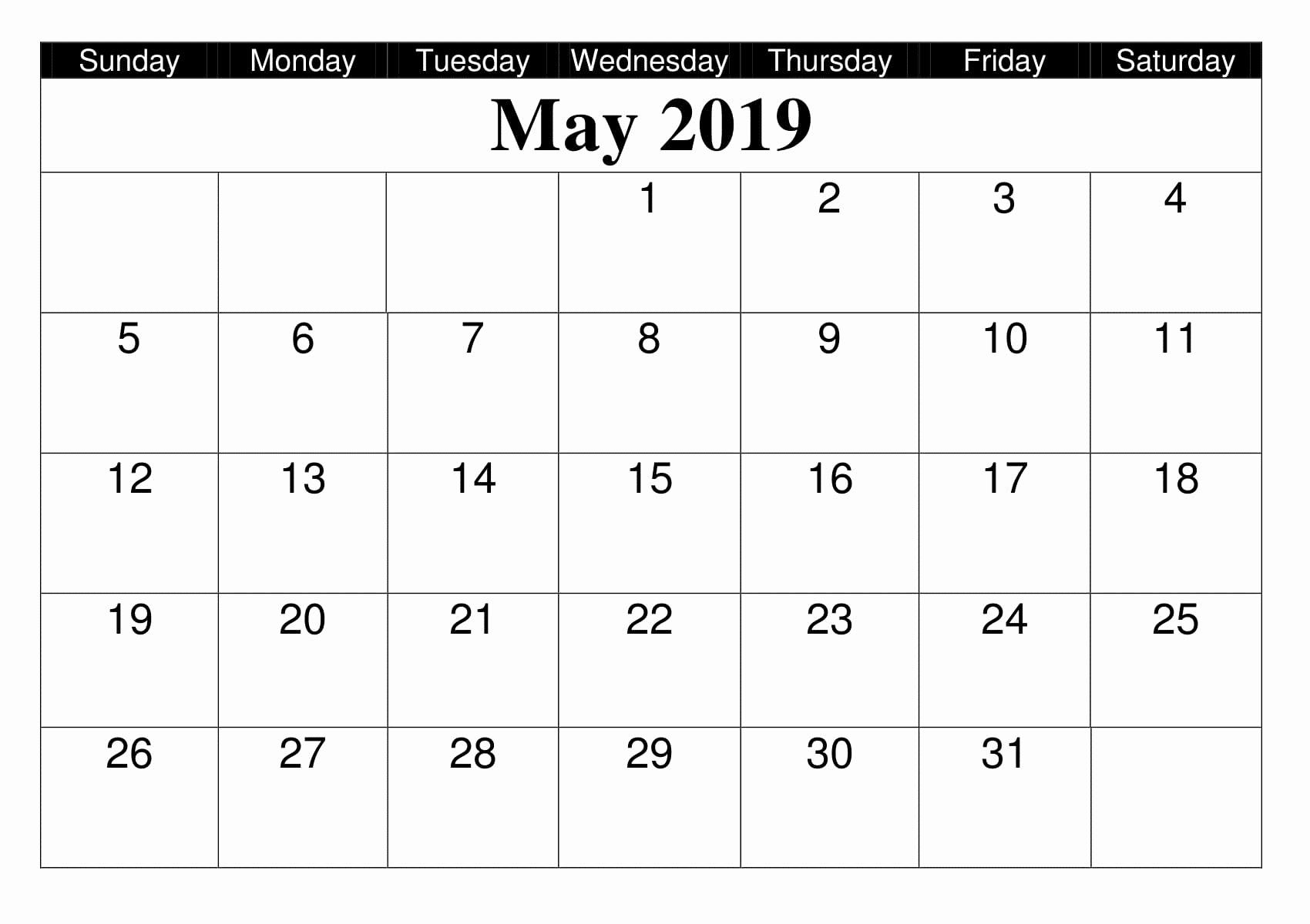 Blank Calendar Template 2019 Elegant Monthly Blank Calendar May 2019 Printable Editable Template