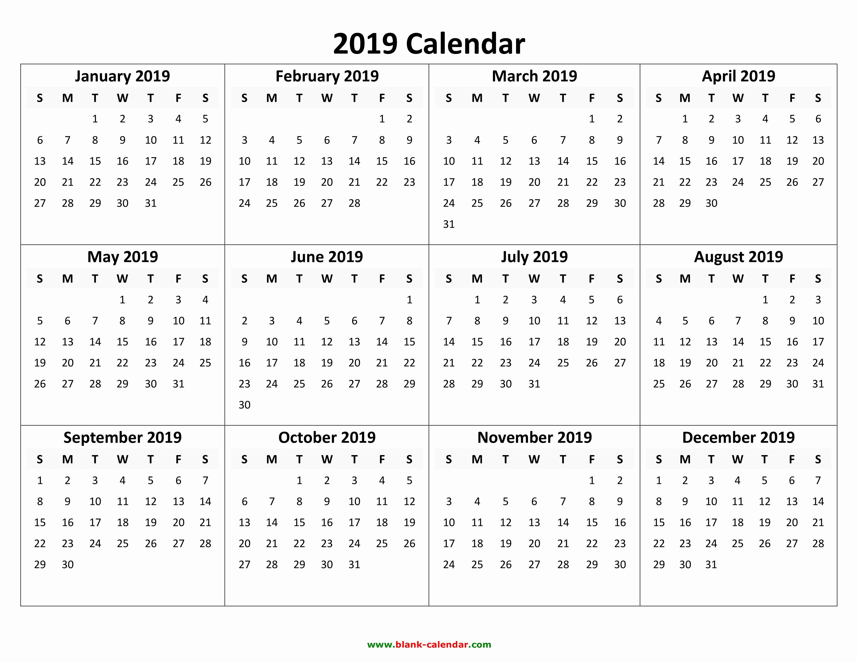 Blank Calendar Template 2019 Elegant Yearly Calendar 2019