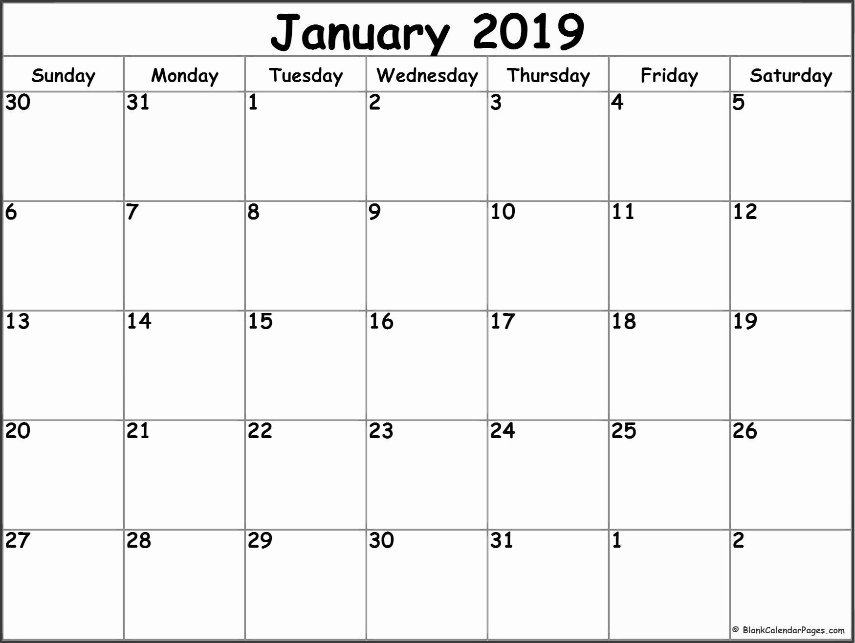 Blank Calendar Template 2019 Inspirational January 2019 Blank Calendar Templates