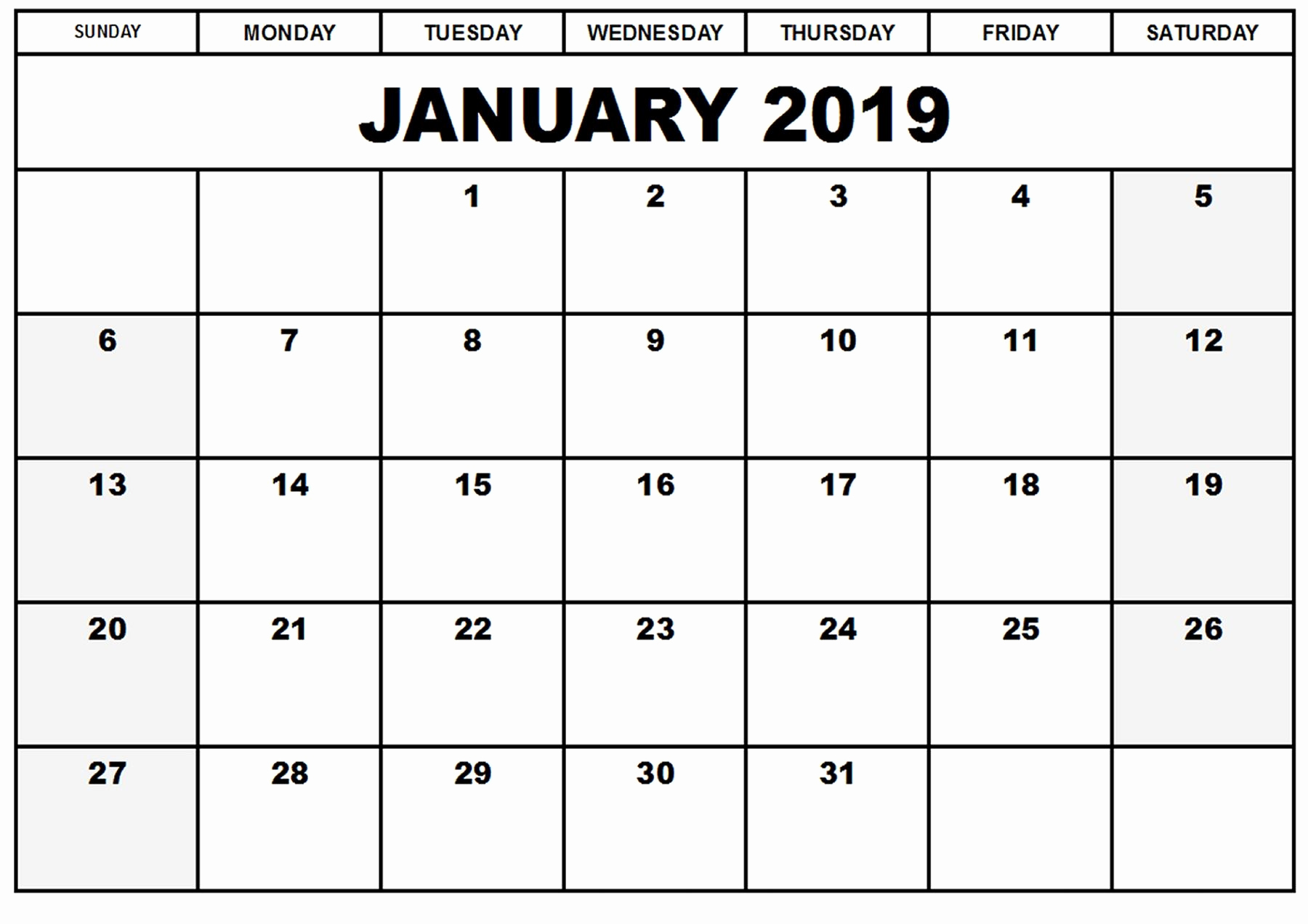 Blank Calendar Template 2019 Lovely Blank Printable Calendar January 2019