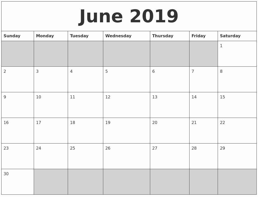Blank Calendar Template 2019 Luxury Blank Printable June 2019 Calendar