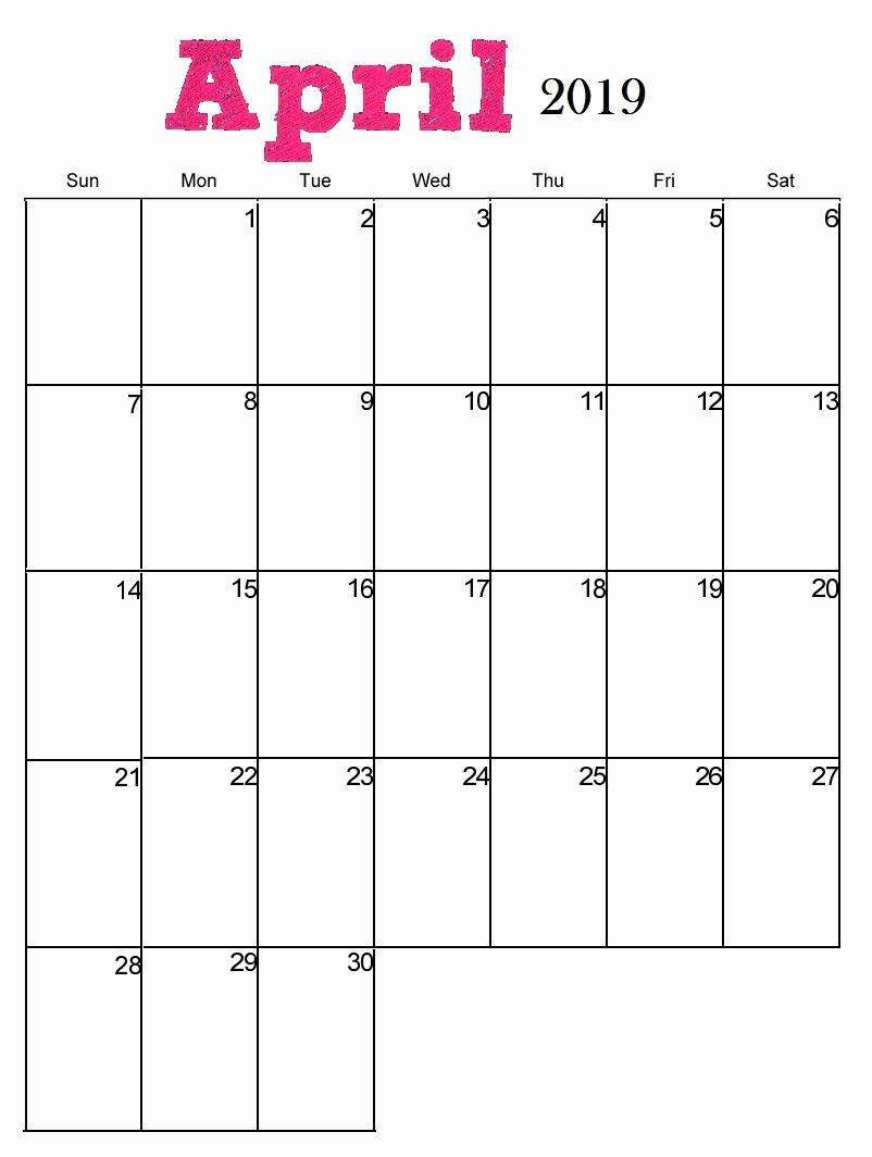 Blank Calendar Template 2019 New April 2019 Printable Calendar Blank Templates Holidays