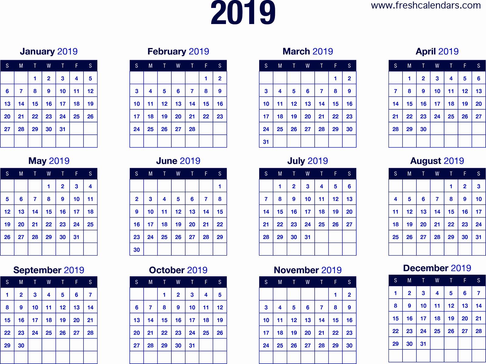 Blank Calendar Template 2019 Unique 2019 Calendar
