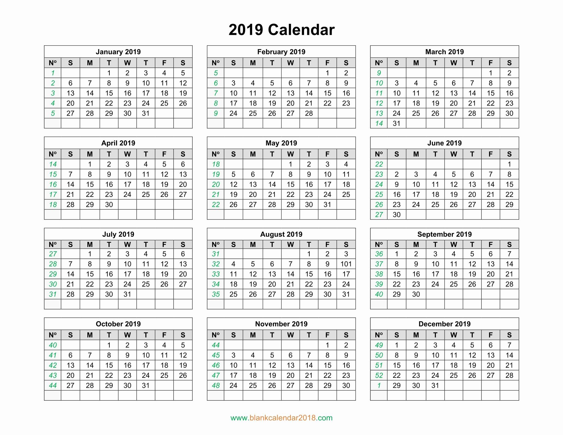 Blank Calendar Template 2019 Unique Blank Calendar 2019