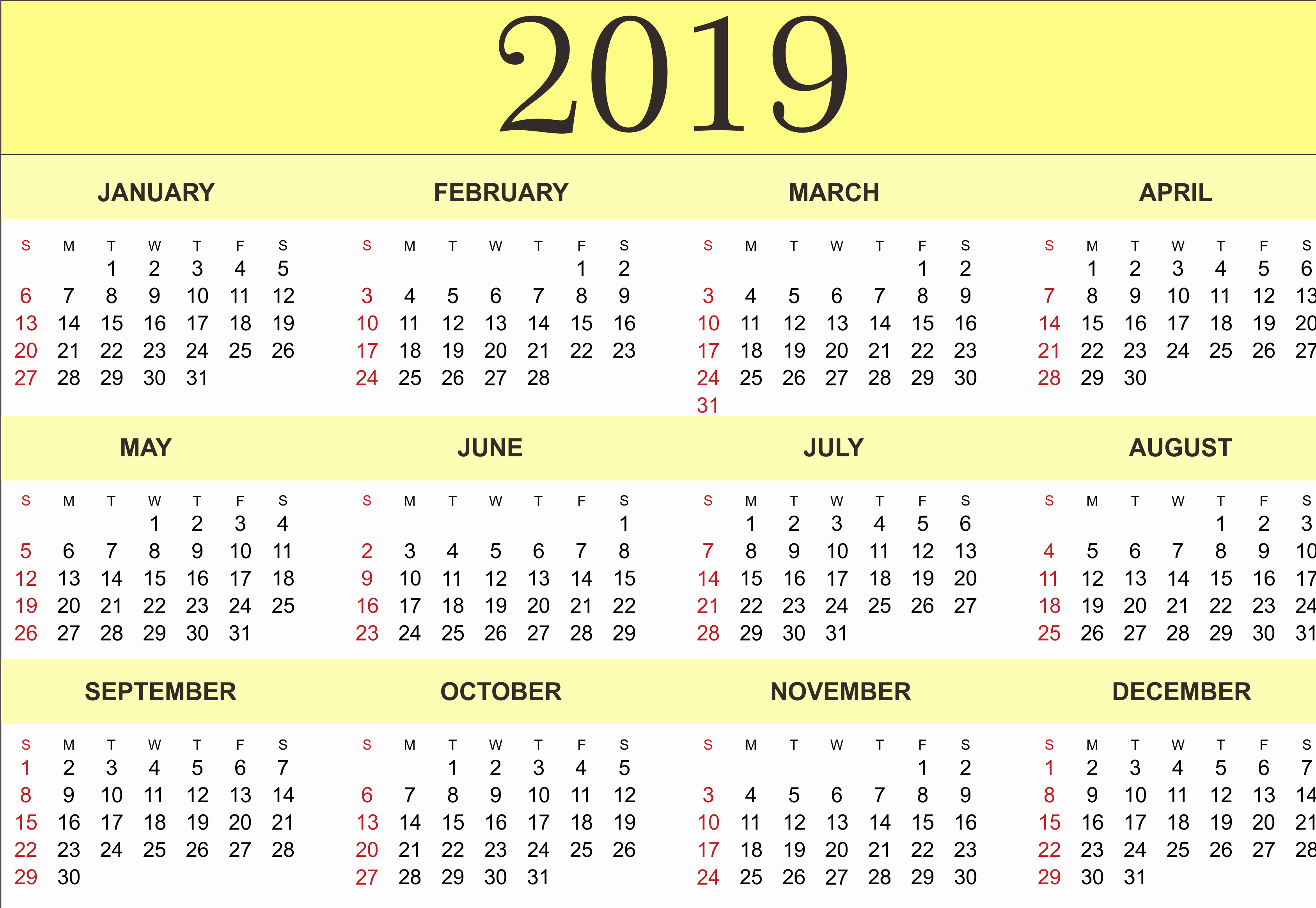 Blank Calendar Template 2019 Unique Free Yearly Calendar 2019 Printable Blank Templates