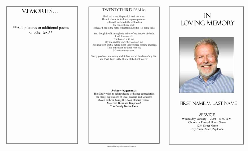 Blank Funeral Program Template Awesome Funeral Program Templates