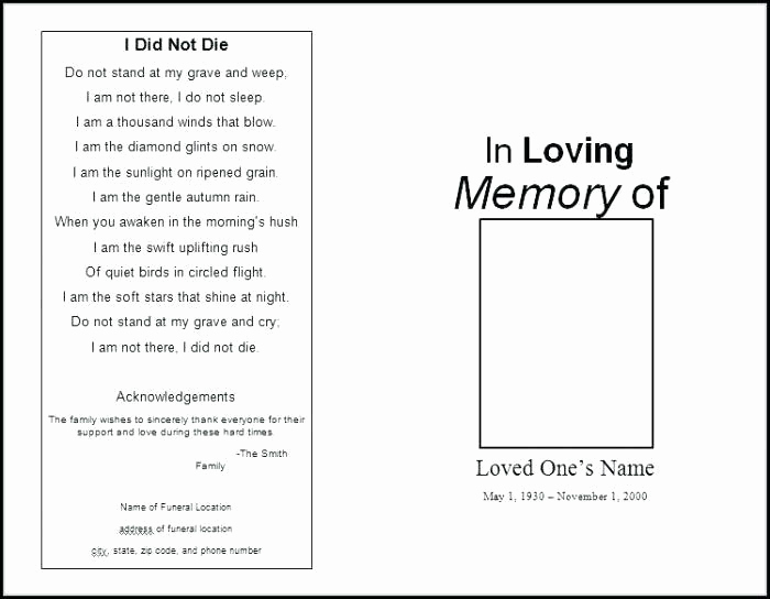 Blank Funeral Program Template Best Of Funeral Pamphlet Template Free