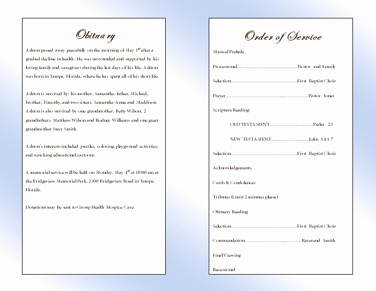 Blank Funeral Program Template Elegant Clouds Youth Memorial Program Funeral Pamphlets