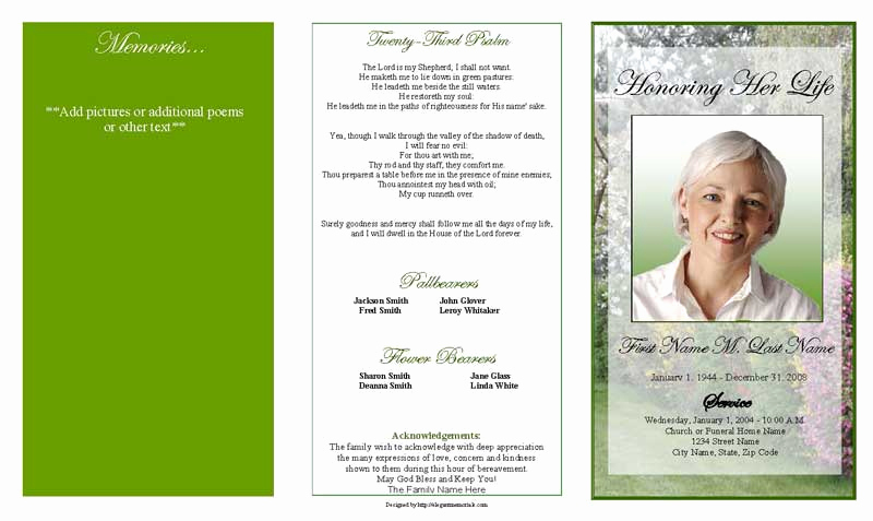 Blank Funeral Program Template Fresh Funeral Program Template