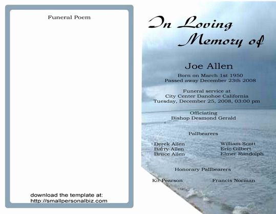 Blank Funeral Program Template Lovely Free Funeral Program Templates