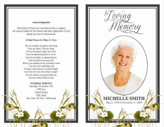 Blank Funeral Program Template Lovely Funeral Program Template