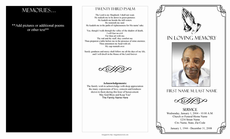 Blank Funeral Program Template New Funeral Program Templates