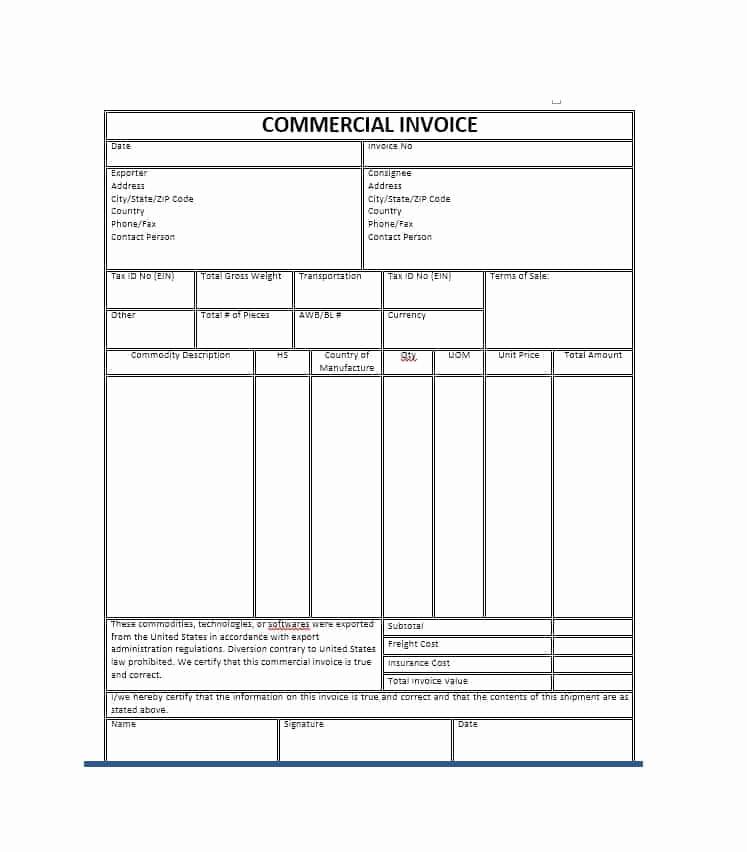 Blank Invoice Template Pdf Elegant 44 Blank Mercial Invoice Templates [pdf Word