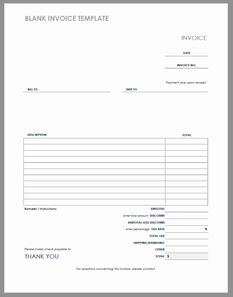 Blank Invoice Template Word Inspirational 55 Free Invoice Templates