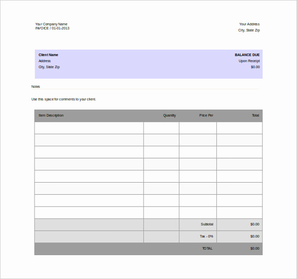 Blank Invoice Template Word Lovely 11 Word Invoice Templates Free Download
