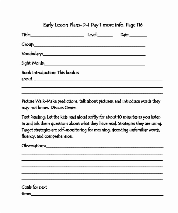 Blank Lesson Plan Template Pdf New Sample Guided Reading Lesson Plan 9 Documents In Pdf Word