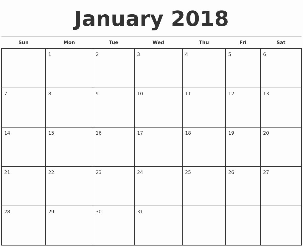 Blank Monthly Calendar Pdf Beautiful January 2018 Monthly Calendar Template