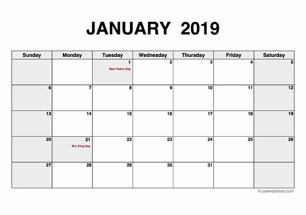 Blank Monthly Calendar Pdf Best Of 2019 Monthly Calendar Pdf Free Printable Templates