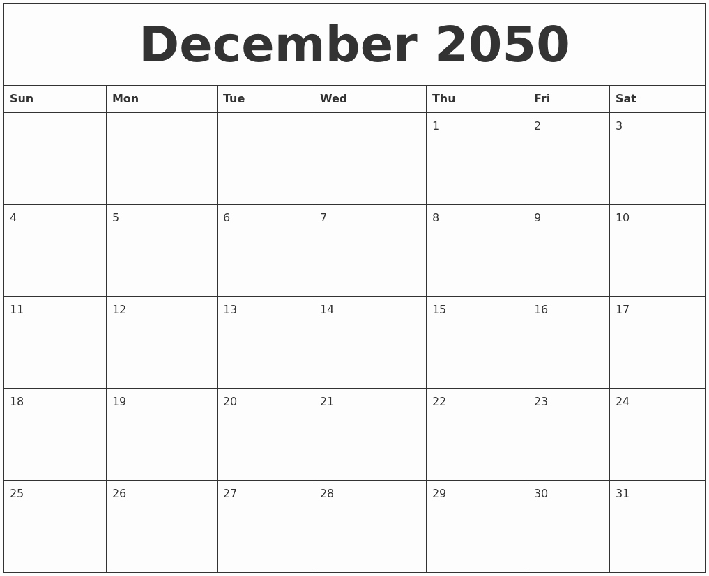 Blank Monthly Calendar Pdf Best Of December 2050 Blank Monthly Calendar Pdf