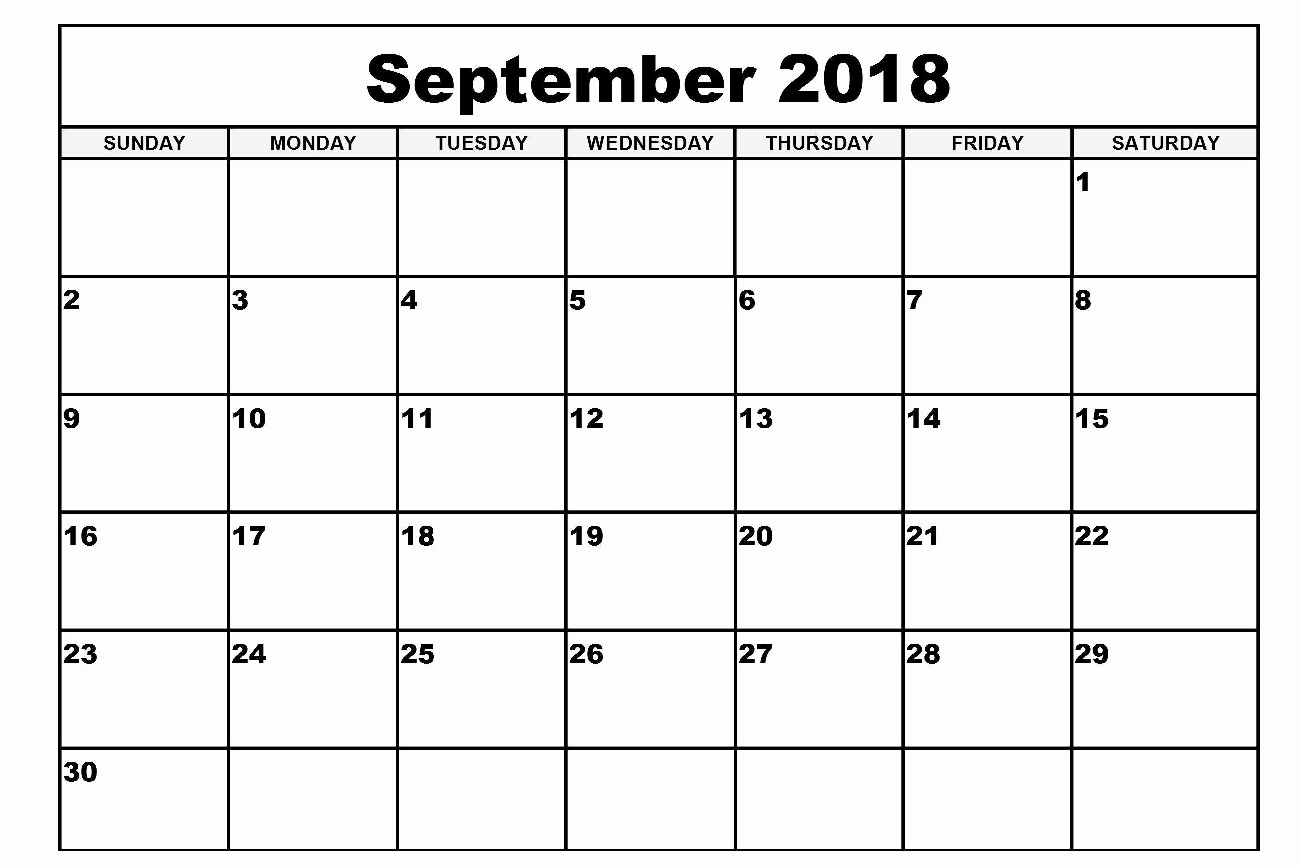 Blank Monthly Calendar Pdf Elegant Free Printable Chart Calendar September
