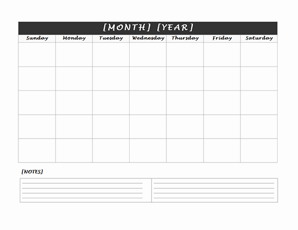 Blank Monthly Calendar Pdf Elegant Monthly Blank Calendar with Notes Spaces Free Printable