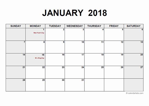 Blank Monthly Calendar Pdf Fresh 2018 Monthly Calendar Pdf Free Printable Templates