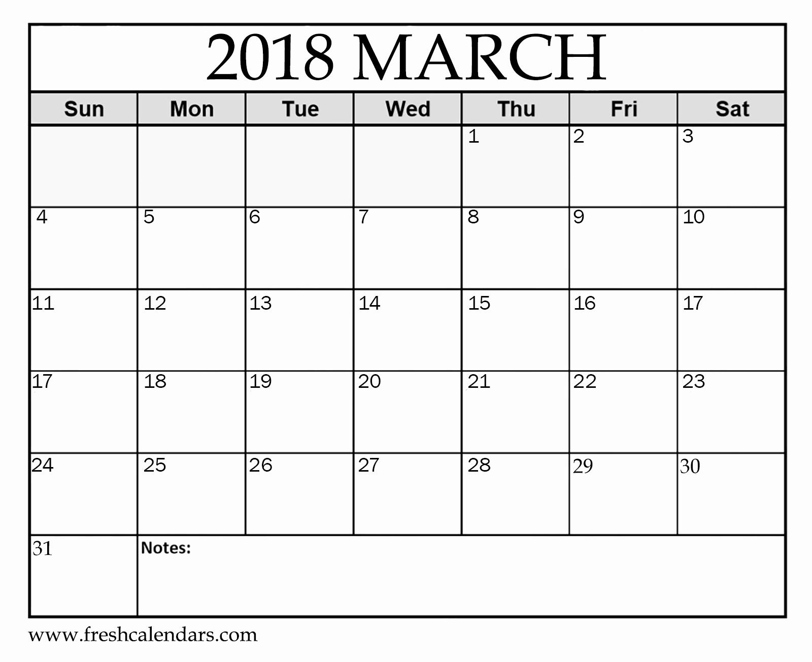 Blank Monthly Calendar Pdf Lovely Printable March 2018 Calendar Fresh Calendars