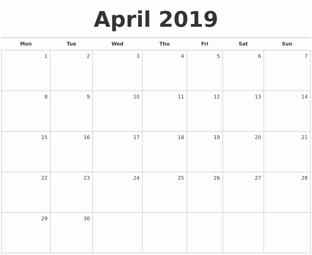 Blank Monthly Calendar Pdf Luxury April 2019 Blank Monthly Calendar