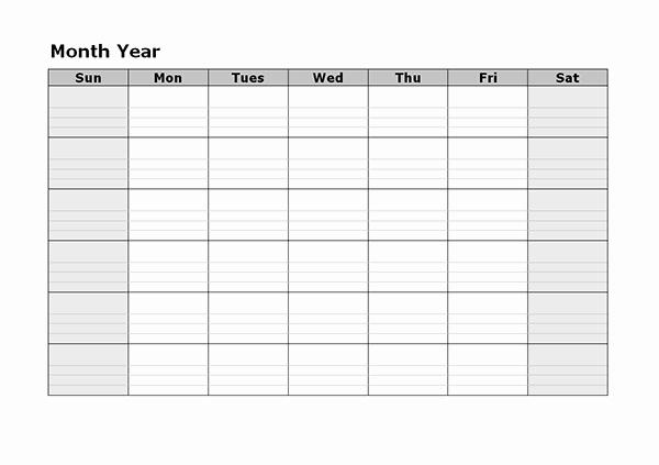 Blank Monthly Calendar Pdf New Monthly Blank Calendar Free Printable Templates