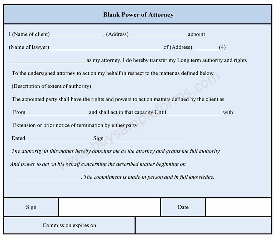 Blank Power Of attorney form Awesome Blank Power Of attorney form