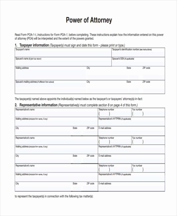 Blank Power Of attorney form Awesome Power Of attorney forms In Pdf