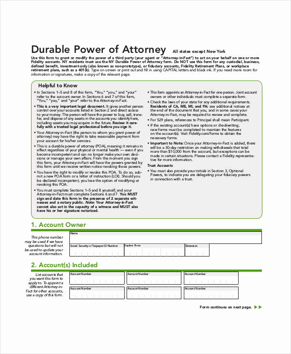 Blank Power Of attorney form Fresh Free Power Of attorney form