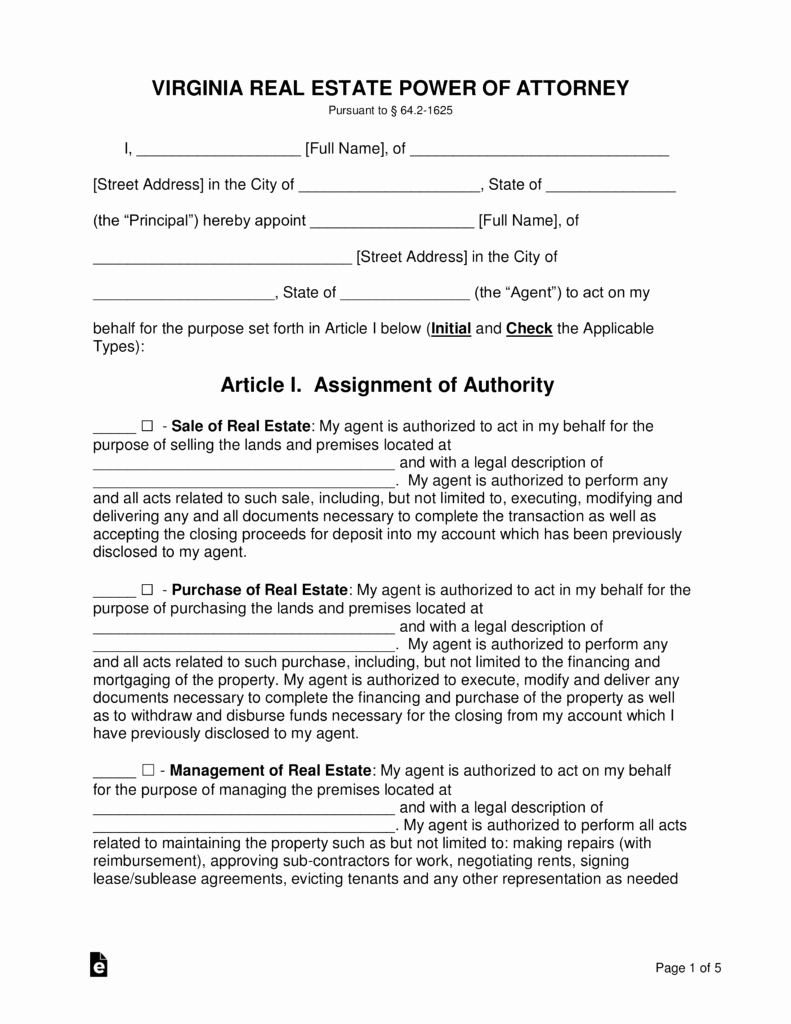 Blank Power Of attorney form Inspirational Free Virginia Real Estate Power Of attorney form Word