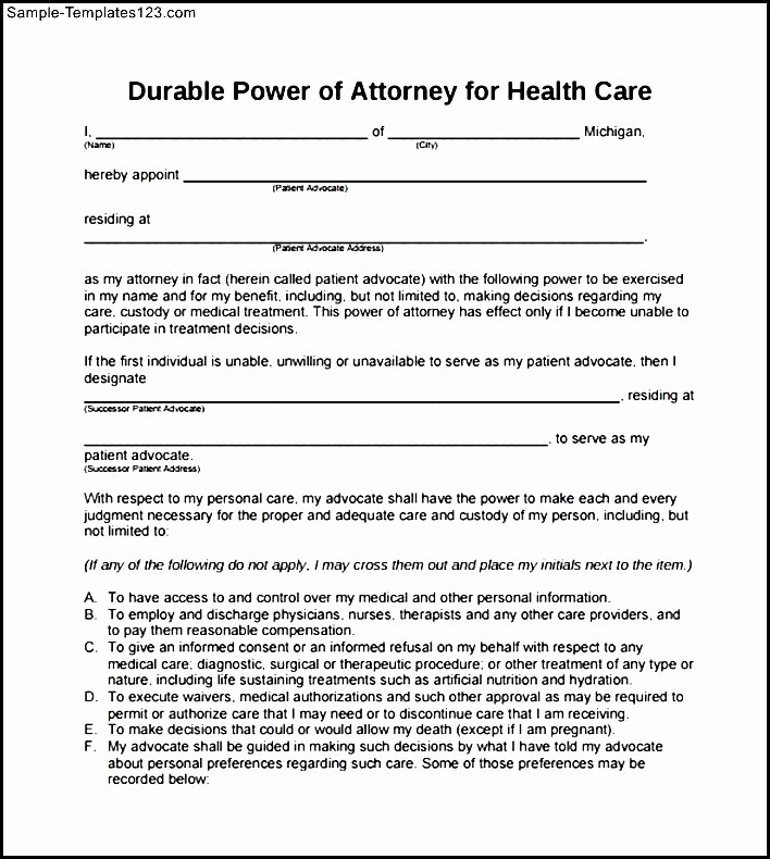 Blank Power Of attorney form Luxury Printable Durable Power Of attorney form Pdf – Project