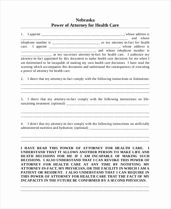 Blank Power Of attorney form New 8 Sample Medical Power Of attorney forms