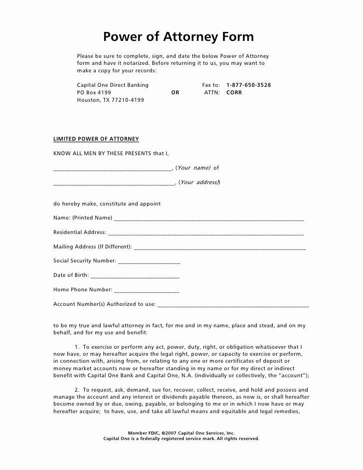 Blank Power Of attorney form Unique Power Of attorney form