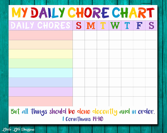 Blank Printable Chore Charts Inspirational Chore Chart for Kids Chore Chart Printable Chore List Kids