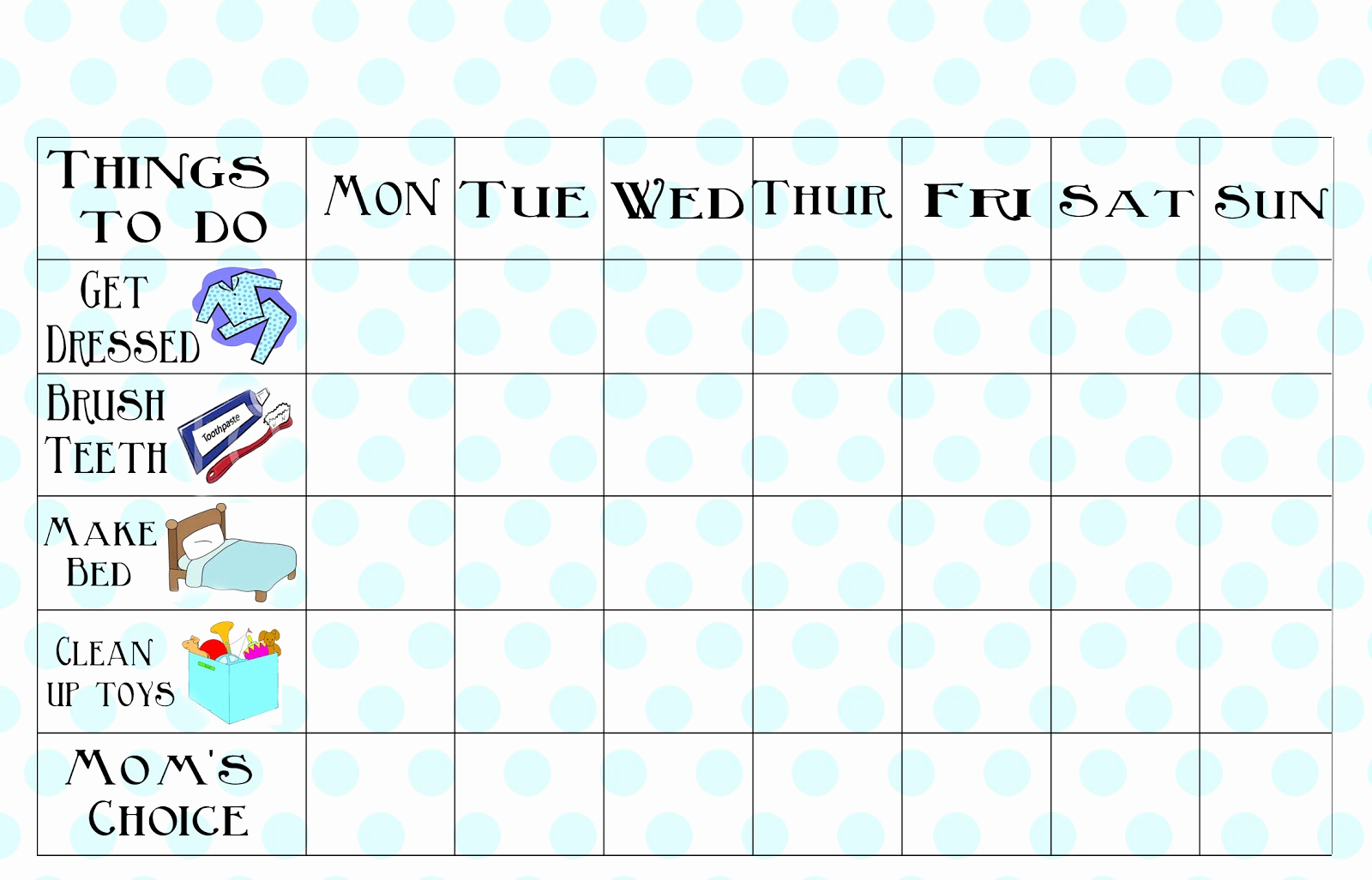 Blank Printable Chore Charts Lovely Free Printable Chore Chart