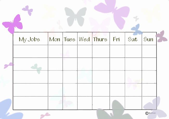 Blank Printable Chore Charts Unique Blank Printable Chore Charts