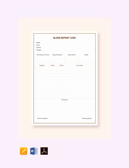 Blank Report Card Template Inspirational 14 Sample Report Cards Pdf Word Excel Pages