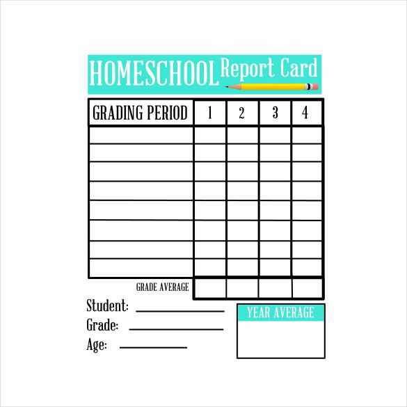 Blank Report Card Template Luxury Sample Homeschool Report Card 7 Documents In Pdf Word