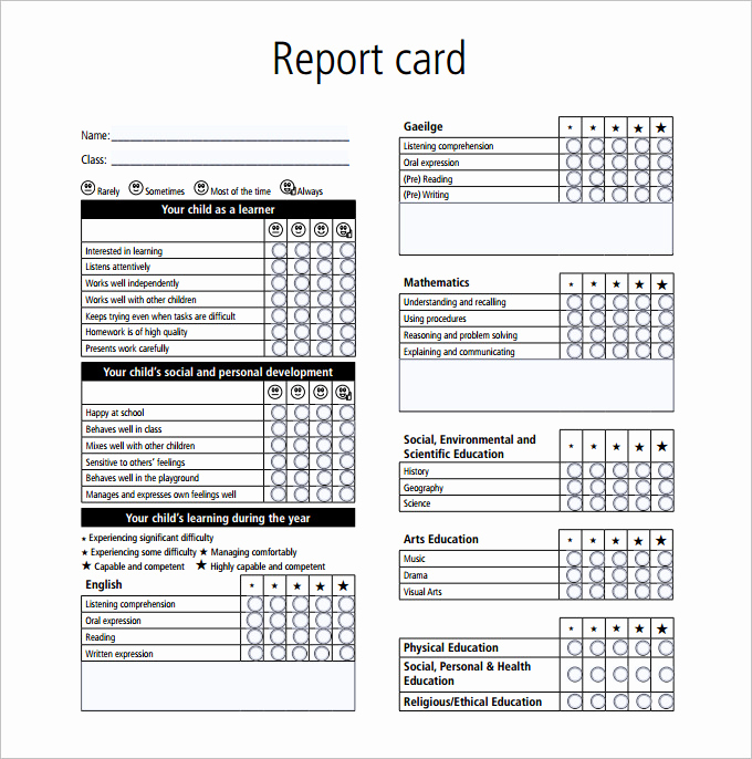 Blank Report Card Template New Report Card Template 28 Free Word Excel Pdf Documents