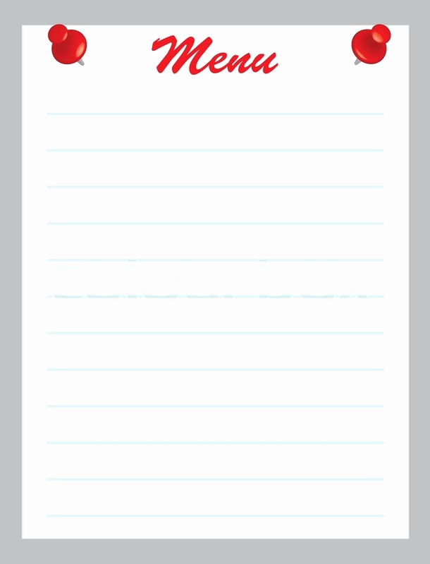 Blank Restaurant Menu Template Fresh Blank Menu Page with Red Pins Vector Illustration