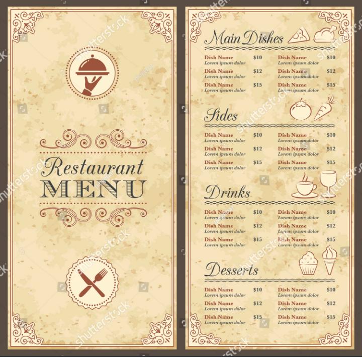 Blank Restaurant Menu Template Lovely 30 Blank Menu Templates Ai Psd Docs Pages