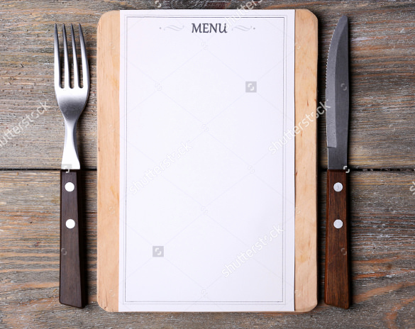 sample blank menu